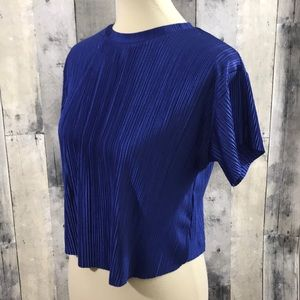 Bershka royal blue textured short sleeve blouse M